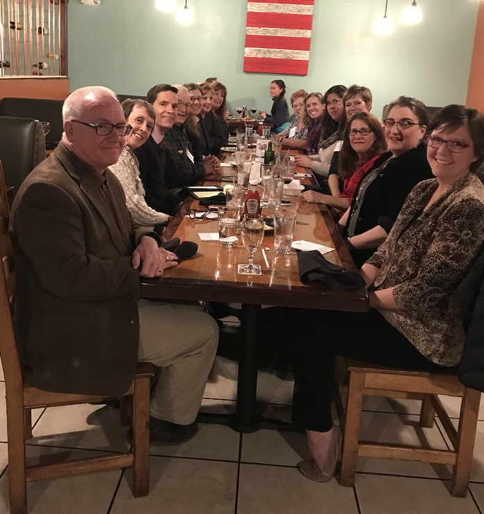 Teacher Advisory Board meets over dinner